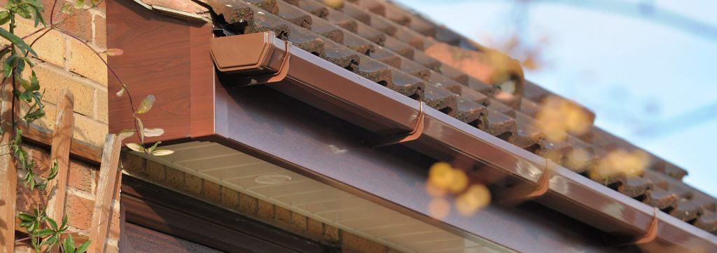 Brown uPVC guttering and roofline