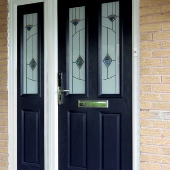 Black composite entrance door with a side panel