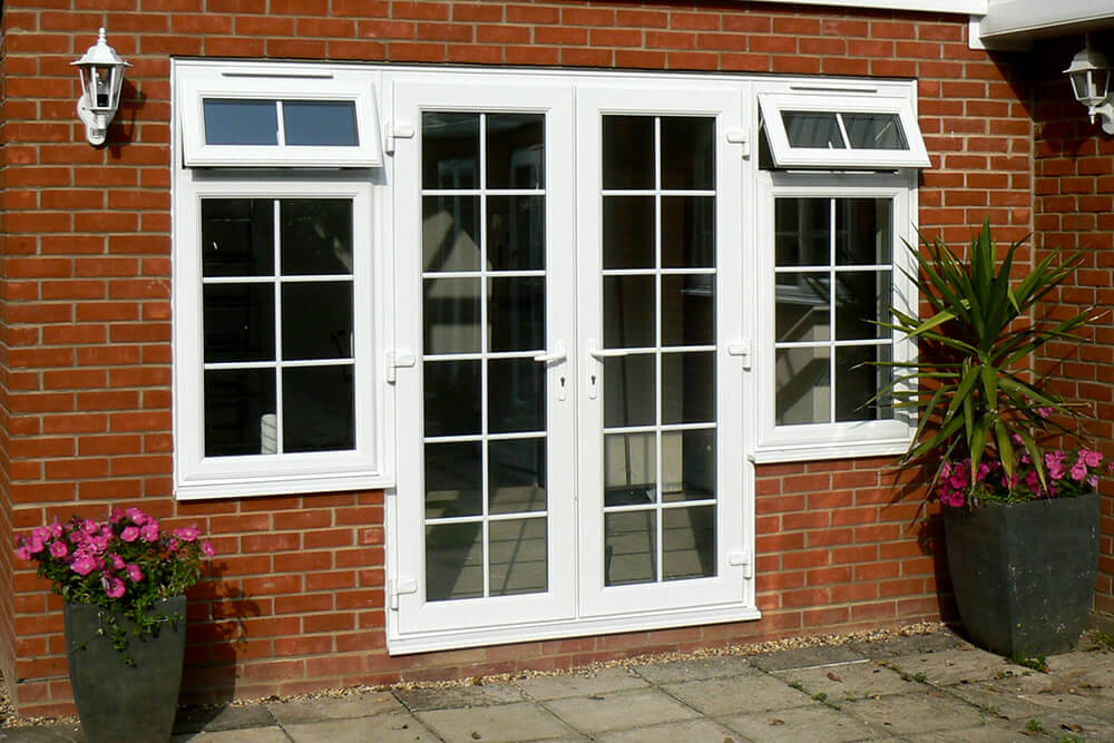 Patio french doors smiths glass for Upvc french doors black