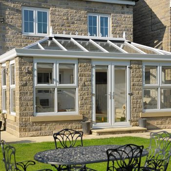 uPVC Orangery with white windows and doors