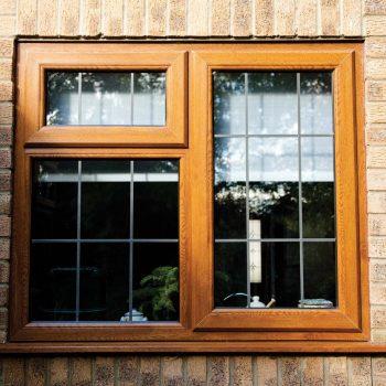 Brown uPVC double glazed window