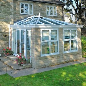 Orangery extension with brick structure and upvc windows and doors